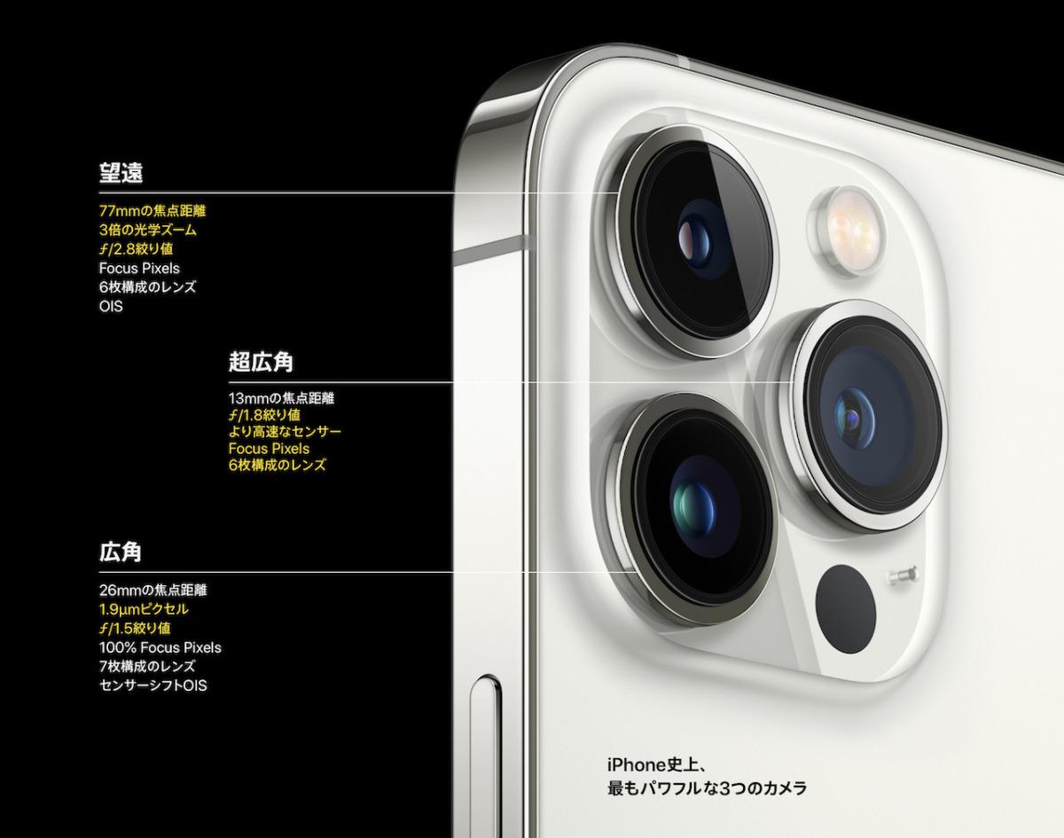 iPhone13 Pro、トリプルレンズカメラ